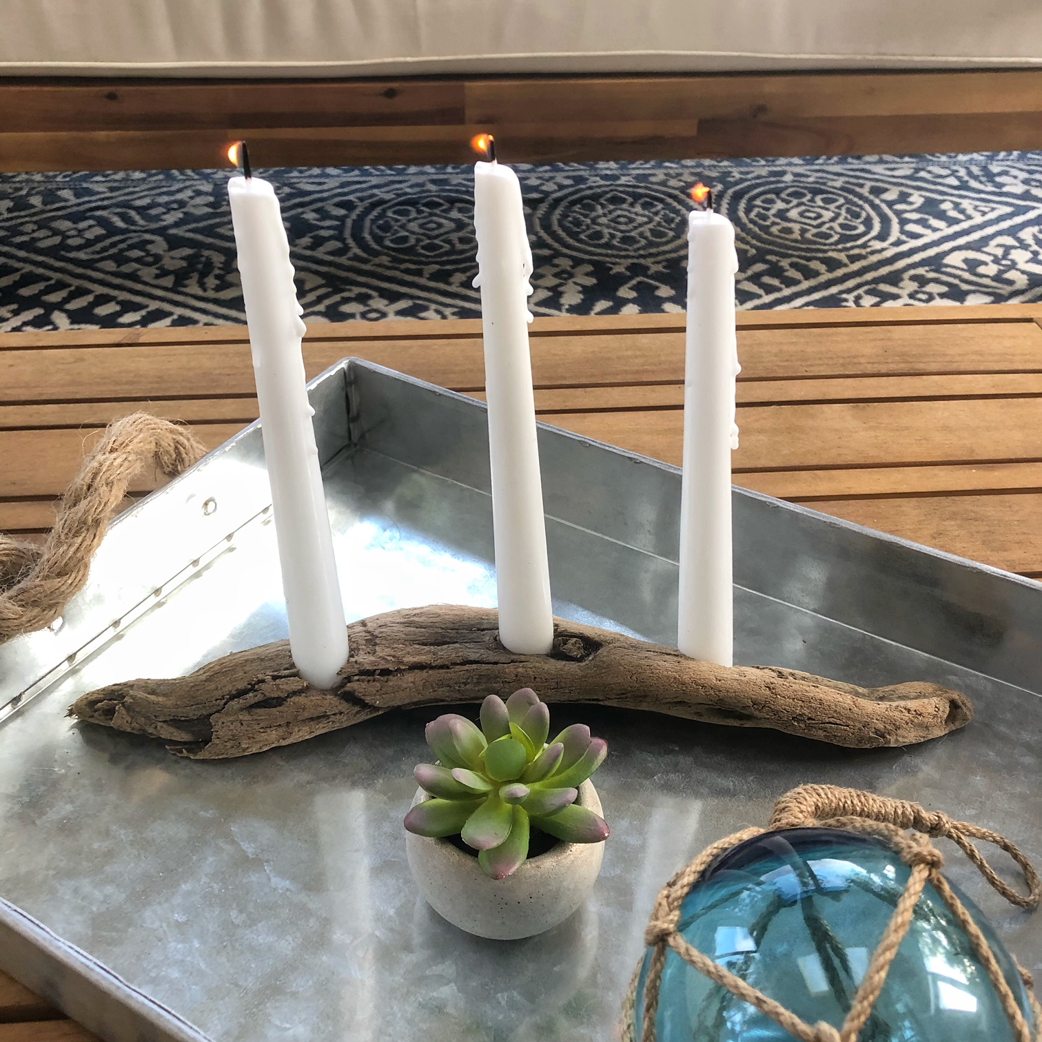 Diy Driftwood Candle Holder Coastal Kelder